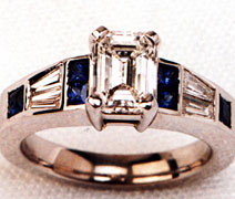 Ladies Diamond and Sapphire Engagement Ring