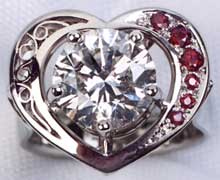Ladies Heart Shape Diamond and Ruby Ring