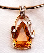 Citrine and Diamond Pendant w/ Wire Chain